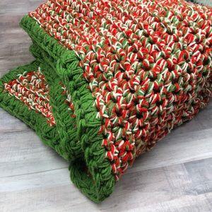Vintage Retro Red & Green Afghan Throw Blanket